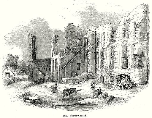 Leicester Abbey. Illustration from Old England, A Pictorial Museum edited by Charles Knight (James Sangster & Co, c 1845).