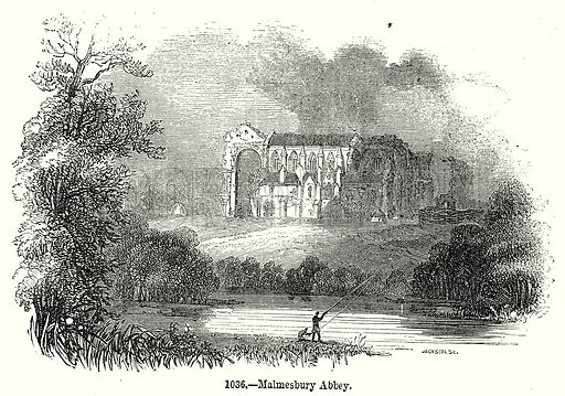 Malmesbury Abbey. Illustration from Old England, A Pictorial Museum edited by Charles Knight (James Sangster & Co, c 1845).