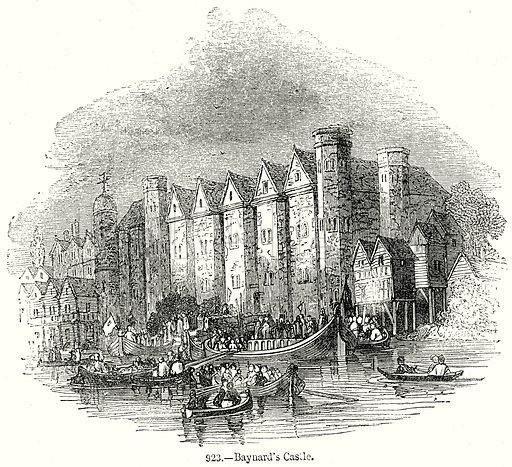 Baynard's Castle. Illustration from Old England, A Pictorial Museum edited by Charles Knight (James Sangster & Co, c 1845).