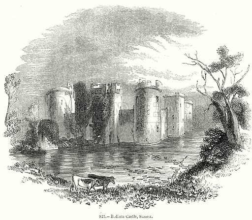 Bodiam Castle, Sussex. Illustration from Old England, A Pictorial Museum edited by Charles Knight (James Sangster & Co, c 1845).