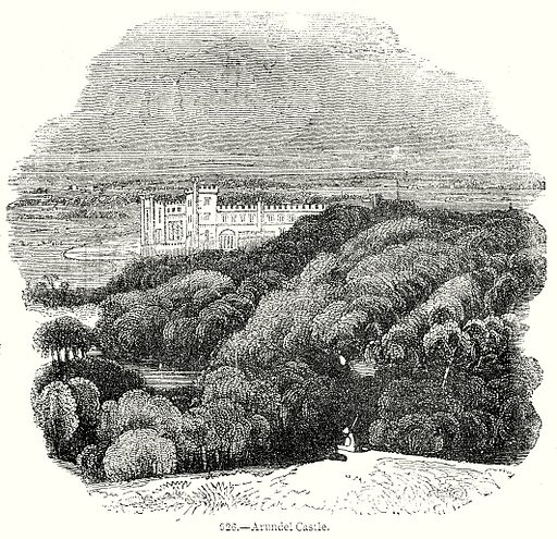 Arundel Castle. Illustration from Old England, A Pictorial Museum edited by Charles Knight (James Sangster & Co, c 1845).