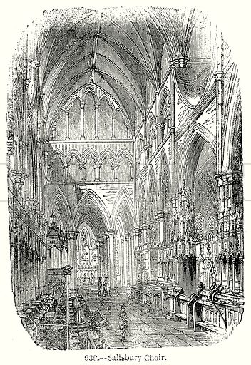 Salisbury Choir. Illustration from Old England, A Pictorial Museum edited by Charles Knight (James Sangster & Co, c 1845).