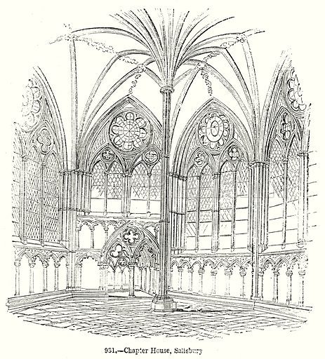 Chapter House, Salisbury. Illustration from Old England, A Pictorial Museum edited by Charles Knight (James Sangster & Co, c 1845).