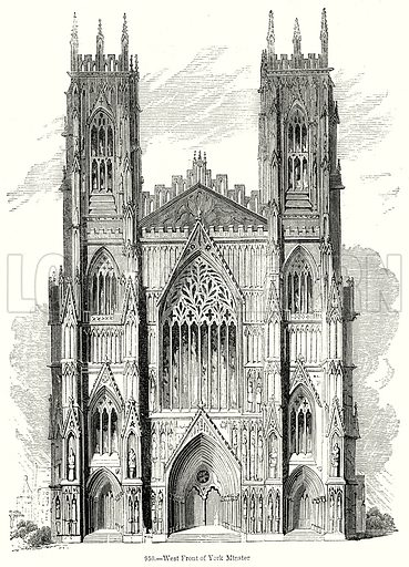 West Front of York Minster. Illustration from Old England, A Pictorial Museum edited by Charles Knight (James Sangster & Co, c 1845).