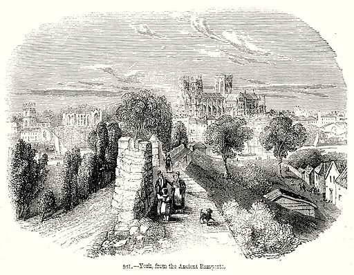 York, from the Ancient Ramparts. Illustration from Old England, A Pictorial Museum edited by Charles Knight (James Sangster & Co, c 1845).