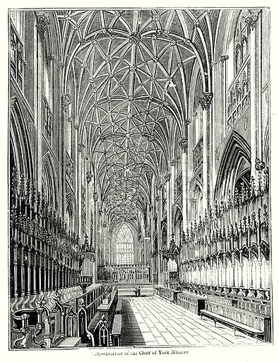 Interior of the Choir of York Minster. Illustration from Old England, A Pictorial Museum edited by Charles Knight (James Sangster & Co, c 1845).