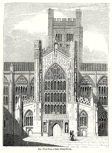 West Front of Bath Abbey-Church. Illustration from Old England, A Pictorial Museum edited by Charles Knight (James Sangster & Co, c 1845).