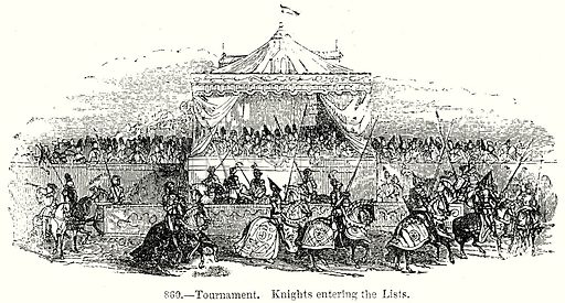 Tournament. Knights entering the Lists. Illustration from Old England, A Pictorial Museum edited by Charles Knight (James Sangster & Co, c 1845).