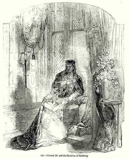 Edward III and the Countess of Salisbury. Illustration from Old England, A Pictorial Museum edited by Charles Knight (James Sangster & Co, c 1845).