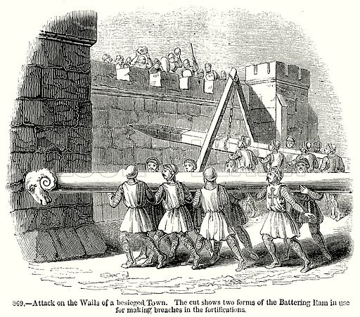 Attack on the Walls of a besieged Town. The cut Shows two forms of the Battering Ram in use for making Breaches in the Fortifications. Illustration from Old England, A Pictorial Museum edited by Charles Knight (James Sangster & Co, c 1845).