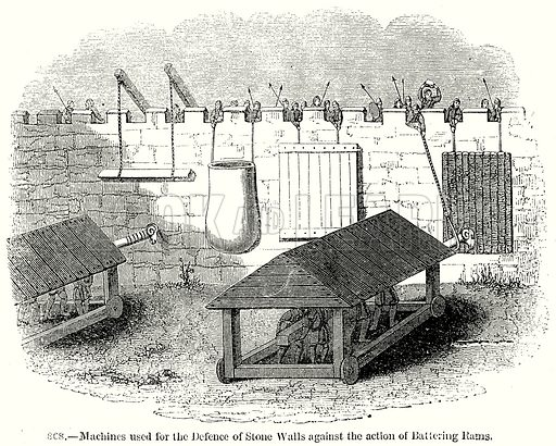 Machines used for the Defence of Stone Walls against the Action of Battering Rams. Illustration from Old England, A Pictorial Museum edited by Charles Knight (James Sangster & Co, c 1845).