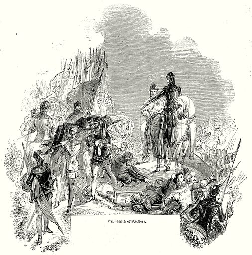Battle of Poiotiers. Illustration from Old England, A Pictorial Museum edited by Charles Knight (James Sangster & Co, c 1845).