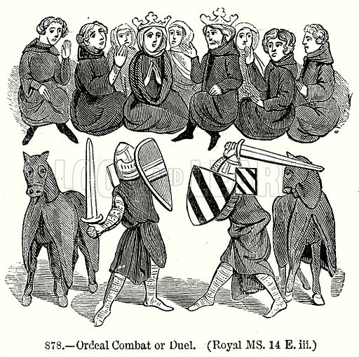 Ordeal Combat or Duel. (Royal MS. 14 E. iii.) Illustration from Old England, A Pictorial Museum edited by Charles Knight (James Sangster & Co, c 1845).