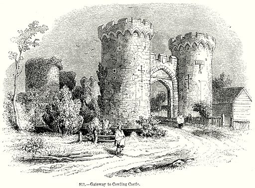 Gateway to Cowling Castle. Illustration from Old England, A Pictorial Museum edited by Charles Knight (James Sangster & Co, c 1845).