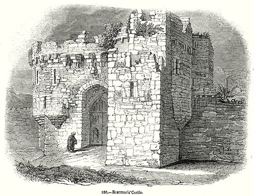 Beaumaris Castle. Illustration from Old England, A Pictorial Museum edited by Charles Knight (James Sangster & Co, c 1845).