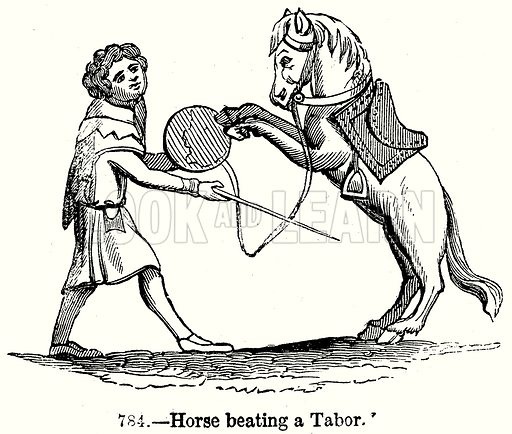 Horse beating a Tabor. Illustration from Old England, A Pictorial Museum edited by Charles Knight (James Sangster & Co, c 1845).