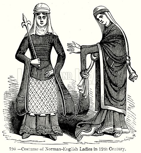 Costume of Norman-English Ladies in 12th Century. Illustration from Old England, A Pictorial Museum edited by Charles Knight (James Sangster & Co, c 1845).