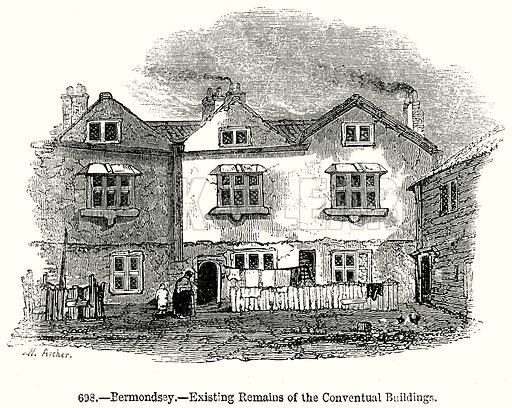 Bermondsey. – Existing Remains of the Conventual Buildings Illustration from Old England, A Pictorial Museum edited by Charles Knight (James Sangster & Co, c 1845).