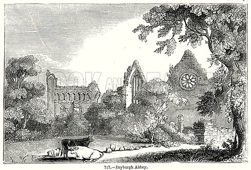 Dryburgh Abbey. Illustration from Old England, A Pictorial Museum edited by Charles Knight (James Sangster & Co, c 1845).