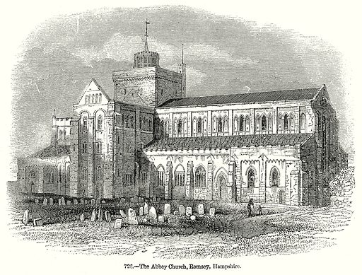 The Abbey Church, Romsey, Hampshire. Illustration from Old England, A Pictorial Museum edited by Charles Knight (James Sangster & Co, c 1845).