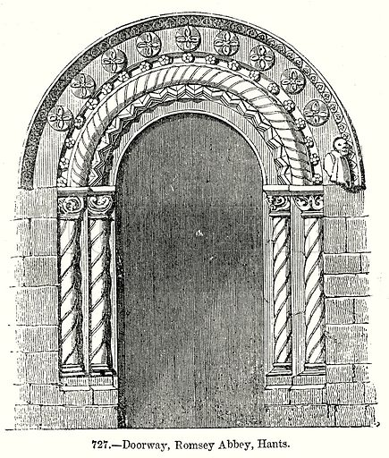 Doorway, Romesey Abbey, Hants. Illustration from Old England, A Pictorial Museum edited by Charles Knight (James Sangster & Co, c 1845).