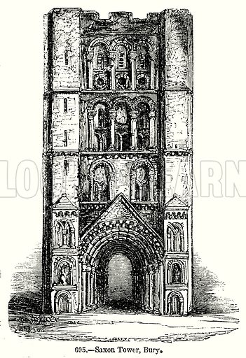 Saxon Tower, Bury. Illustration from Old England, A Pictorial Museum edited by Charles Knight (James Sangster & Co, c 1845).