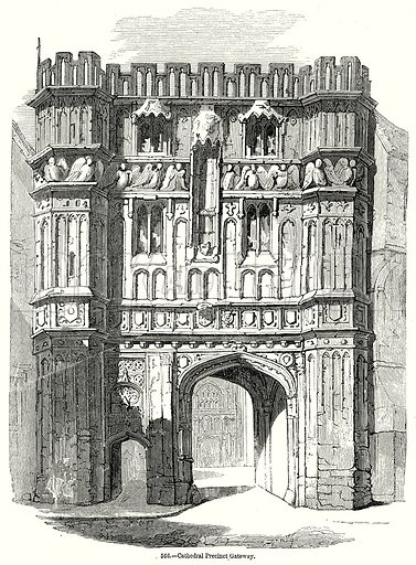 Cathedral Precinct Gateway. Illustration from Old England, A Pictorial Museum edited by Charles Knight (James Sangster & Co, c 1845).
