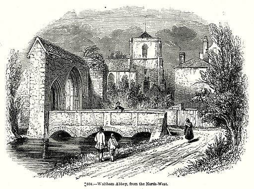 Waltham Abbey, from the North-Weat. Illustration from Old England, A Pictorial Museum edited by Charles Knight (James Sangster & Co, c 1845).