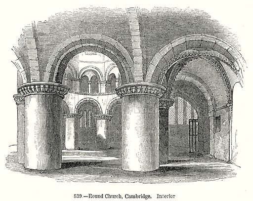 Round Church, Cambridge. Interior. Illustration from Old England, A Pictorial Museum edited by Charles Knight (James Sangster & Co, c 1845).