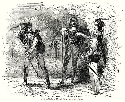 Robin Hood, Scarlet, and John. Illustration from Old England, A Pictorial Museum edited by Charles Knight (James Sangster & Co, c 1845).