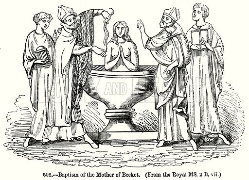 Baptism of the Mother of Becket. Illustration from Old England, A Pictorial Museum edited by Charles Knight (James Sangster & Co, c 1845).