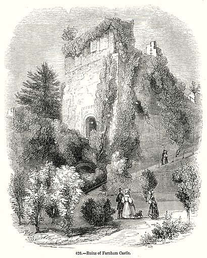 Ruins of Farnham Castle. Illustration from Old England, A Pictorial Museum edited by Charles Knight (James Sangster & Co, c 1845).