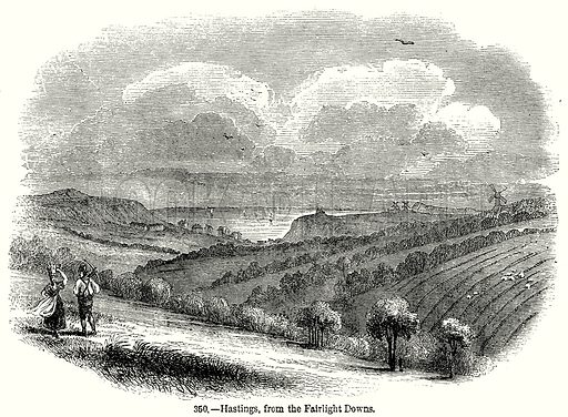 Hastings, from the Fairlight Downs. Illustration from Old England, A Pictorial Museum edited by Charles Knight (James Sangster & Co, c 1845).