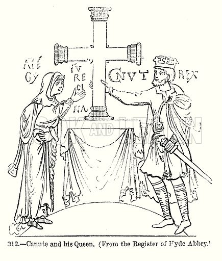 Canute and his Queen. Illustration from Old England, A Pictorial Museum edited by Charles Knight (James Sangster & Co, c 1845).