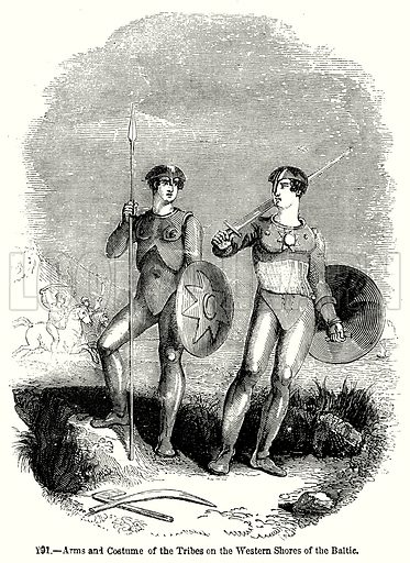 Arms and Costume of the Tribes on the Western Shores of the Baltio. Illustration from Old England, A Pictorial Museum edited by Charles Knight (James Sangster & Co, c 1845).
