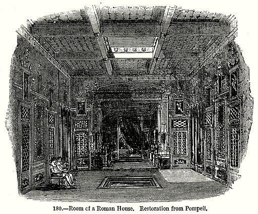 Room of a Roman House Restoration from Pompeii. Illustration from Old England, A Pictorial Museum edited by Charles Knight (James Sangster & Co, c 1845).
