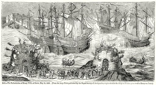 The Embarkation of Henry VIII at Dover, May 31, 1520. Illustration from Old England, A Pictorial Museum edited by Charles Knight (James Sangster & Co, c 1845).