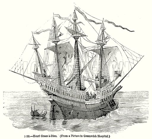 Henri Grace a-Dieu. Illustration from Old England, A Pictorial Museum edited by Charles Knight (James Sangster & Co, c 1845).