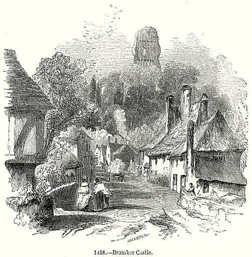 Bramber Castle. Illustration from Old England, A Pictorial Museum edited by Charles Knight (James Sangster & Co, c 1845).