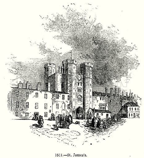 St James's. Illustration from Old England, A Pictorial Museum edited by Charles Knight (James Sangster & Co, c 1845).