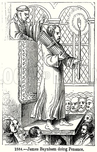 James Baynham doing Penance. Illustration from Old England, A Pictorial Museum edited by Charles Knight (James Sangster & Co, c 1845).
