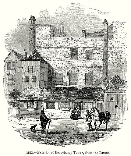 Exterior of Beauchamp Tower, from the Parade. Illustration from Old England, A Pictorial Museum edited by Charles Knight (James Sangster & Co, c 1845).