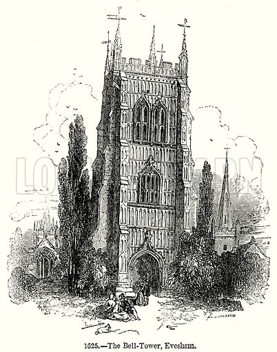 The Bell-Tower, Evesham. Illustration from Old England, A Pictorial Museum edited by Charles Knight (James Sangster & Co, c 1845).