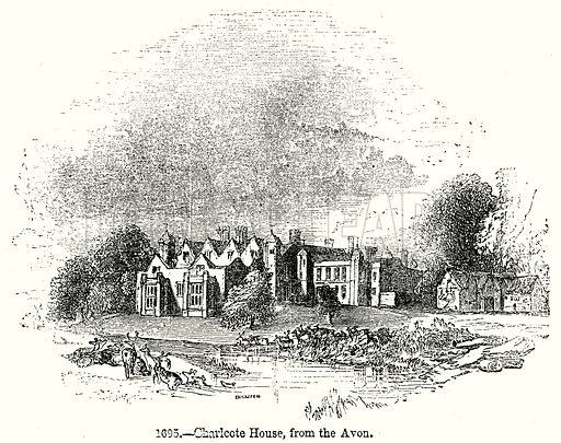 Charlcote House, from the Avon. Illustration from Old England, A Pictorial Museum edited by Charles Knight (James Sangster & Co, c 1845).