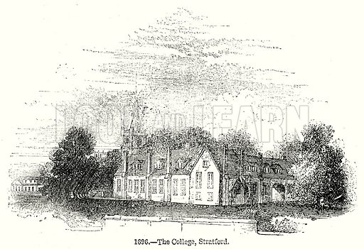 The College, Stratford. Illustration from Old England, A Pictorial Museum edited by Charles Knight (James Sangster & Co, c 1845).