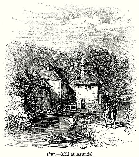 Mill at Arundel. Illustration from Old England, A Pictorial Museum edited by Charles Knight (James Sangster & Co, c 1845).