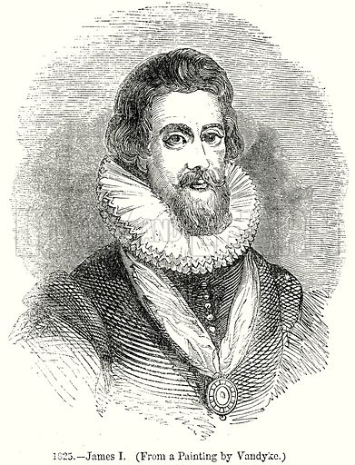 James I. Illustration from Old England, A Pictorial Museum edited by Charles Knight (James Sangster & Co, c 1845).