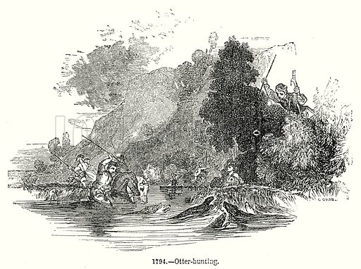 Otter-Hunting. Illustration from Old England, A Pictorial Museum edited by Charles Knight (James Sangster & Co, c 1845).