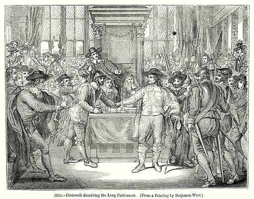 Cromwell dissolving the Long Parliament. Illustration from Old England, A Pictorial Museum edited by Charles Knight (James Sangster & Co, c 1845).