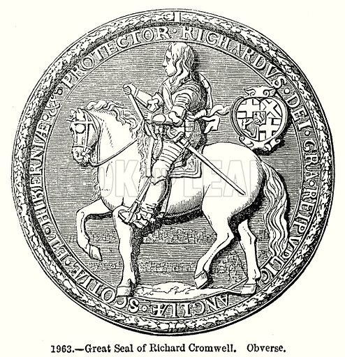 Great Seal of Richard Cromwell. Obverse. Illustration from Old England, A Pictorial Museum edited by Charles Knight (James Sangster & Co, c 1845).
